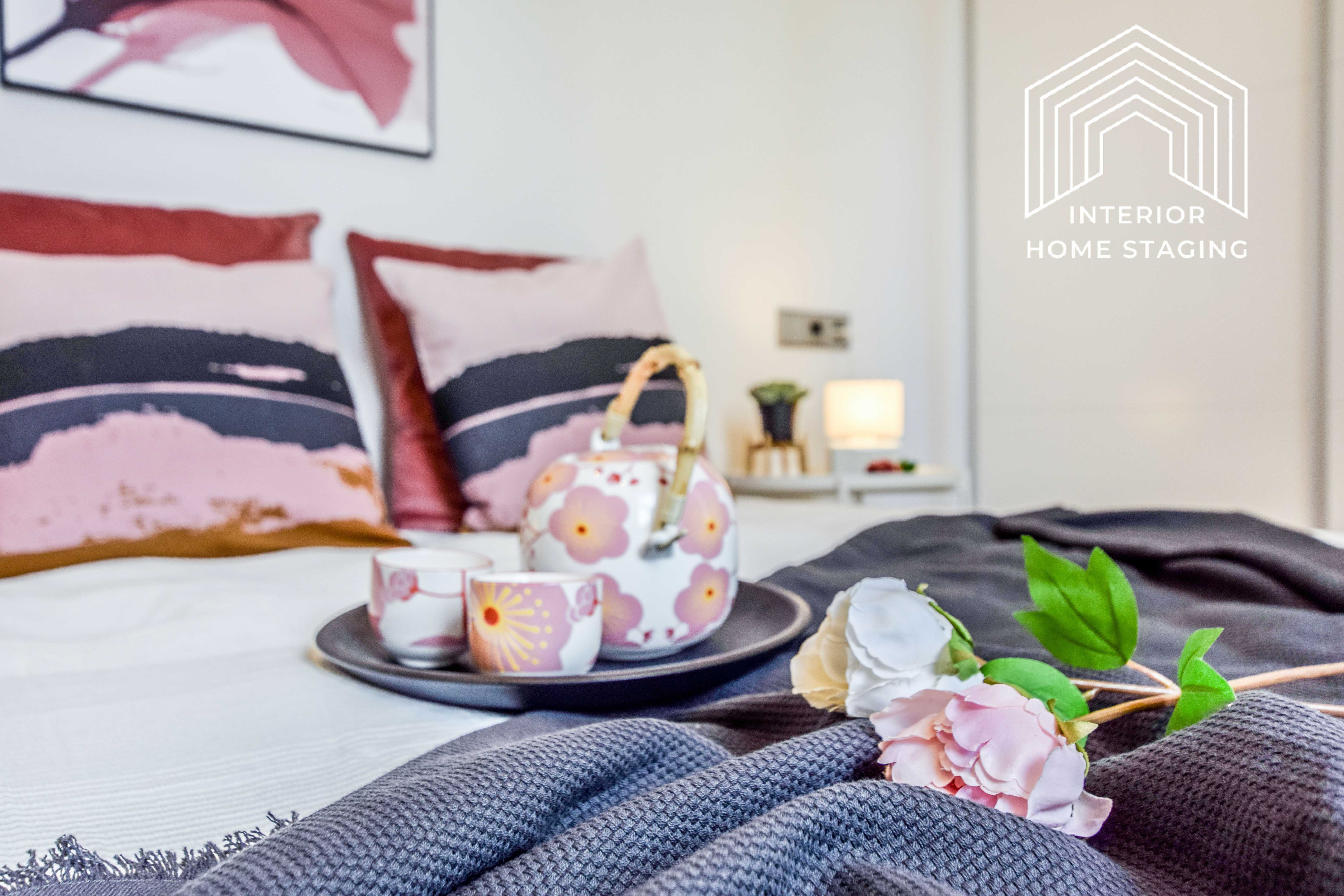 Interior Home Staging detalle cama principal