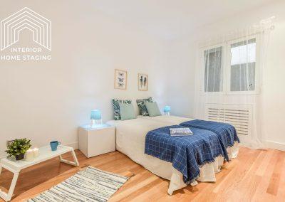 Interior Home Staging Chamberi dormitorio azul 1