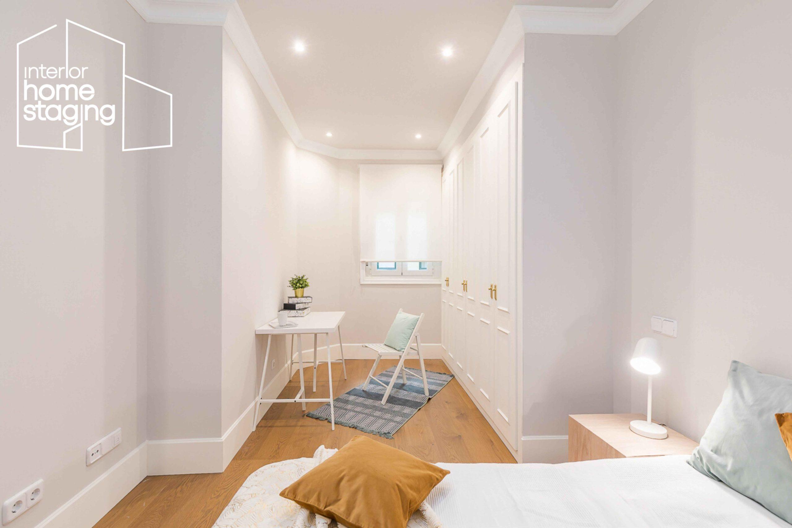 Home Staging dormitorio vivienda en venta Barrio Salamanca Madrid