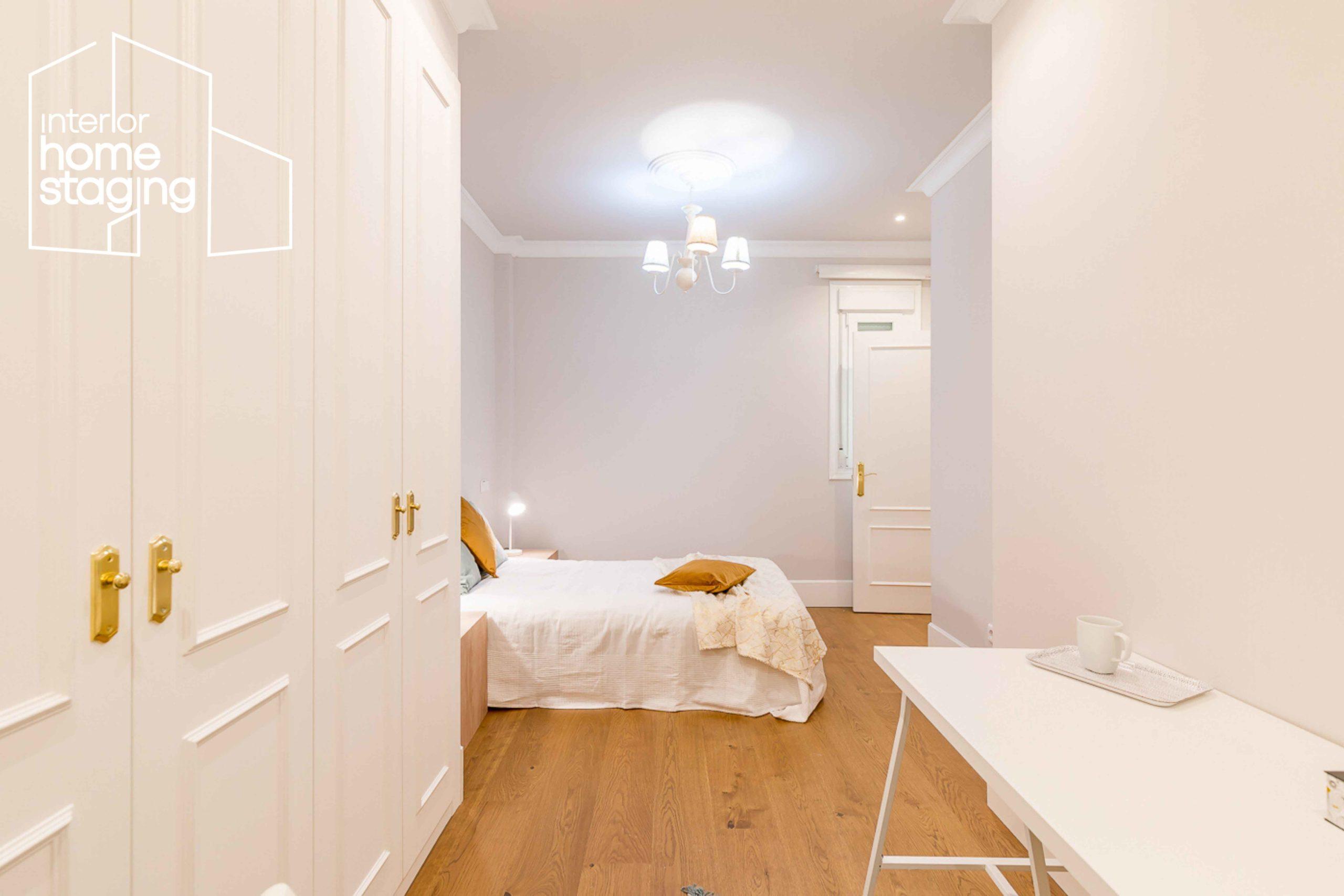 Home Staging dormitorio vivienda en venta Barrio Salamanca